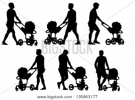 Father walking with a baby in a stroller. Silhouette on a white background.
