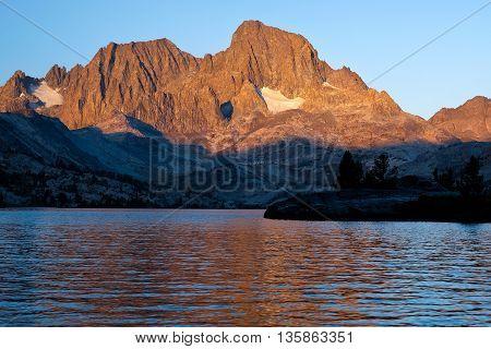 Mt. Ritter and Banner Peak Reflected in an Garnett Lake. The Ansel Adams Wilderness, Sierra Nevada, California