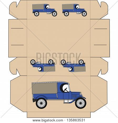 The layout of the box for gift. Box for chocolates, cakes, gift, surprise. Box with old retro car. Cut and fold the box. Box without gluing on the occasion. Present box pattern.