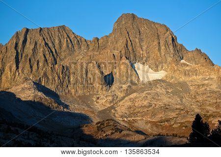Sunrise Illuminates Mt Ritter and Banner Peak.  The Ansel Adams Wilderness, Sierra Nevada, California