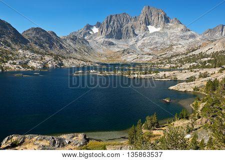Garnett Lake and Mt. Ritter and Banner Peak  The Ansel Adams Wilderness, Sierra Nevada, California.