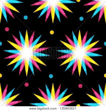 Retro multiplied style seamless pattern with stars flower shapes