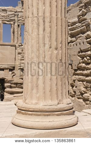 Architectural Column Detail At The Famous Acropolis in Athens Greece
