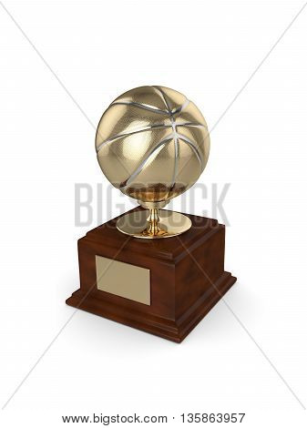 3D Rendered Basketball Trophy Isolated On White
