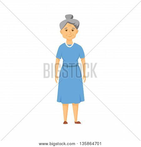 Happy old woman stands. Smile elderly woman.
