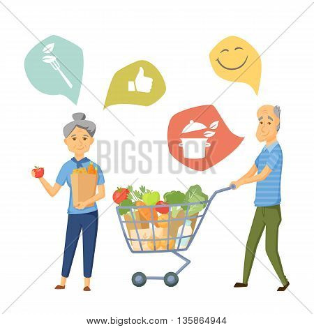Old coupe with shoping cart and bag. Old couple healthy food infographic. Old people healthy lifestale concept. Smile couple buy healthy food together. Cooking icon. Elderly man and women in shop