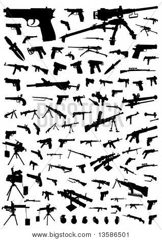 Hundred vector silhouettes of weapons isolated on white
