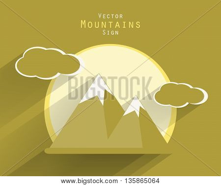 Mountain vector tourist flat icon with long shadows. Vector sighs, elements for your design. Sun, clouds, mountains vector elements. Eps10