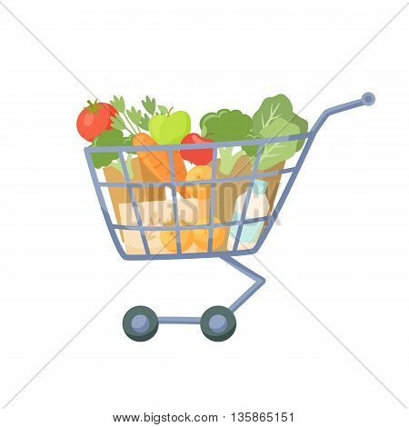 Shopping cart. Full of products supermarket trolley. Cartoon shopping cart vector illustration. Shopping cart with fresh healthy food. Supermarket basket with fruit and vegetable.