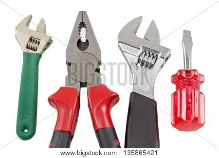 the Set of tools over white background