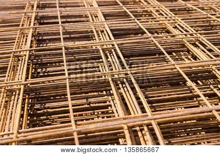 Pile Of Industrial Steel Bar.