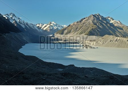Tasman Lake and the Southern Alps.  Mt Cook National Park, New Zealand