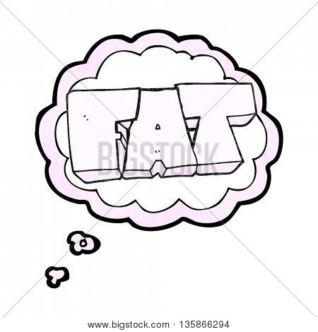 freehand drawn thought bubble textured cartoon FAT symbol