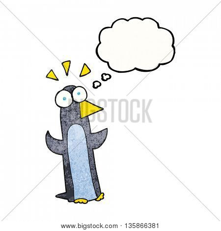 freehand drawn thought bubble textured cartoon surprised penguin