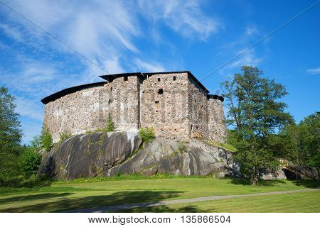 Medieval castle in Raseborg, sunny june day. Snappertuna, Finland