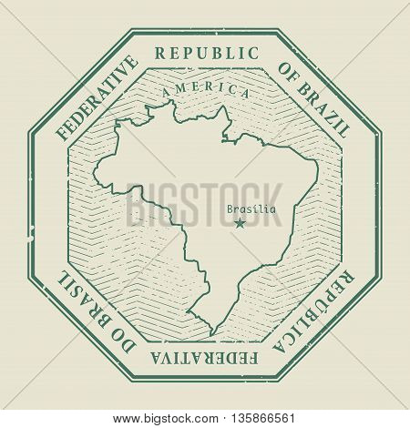 Stamp with the name and map of Brasil, vector illustration
