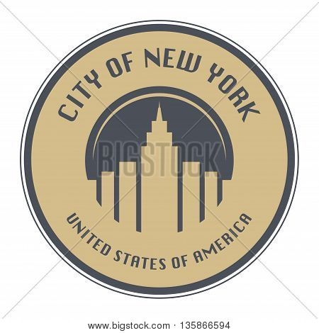Stamp with name of New York, New York City, United States, vector illustration