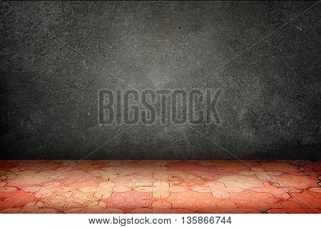 Empty Room With Black Stone Wall And Vintage Pattern Brick Block Floor,template Mock Up For Display