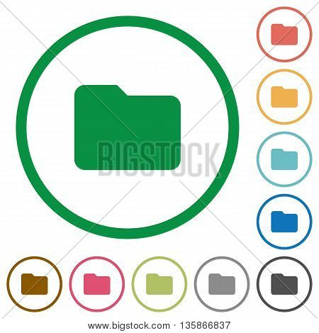 Set of folder color round outlined flat icons on white background