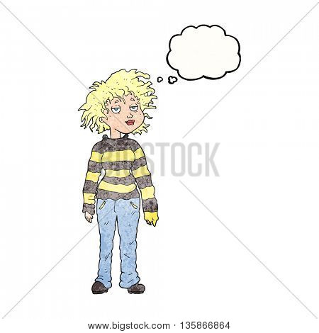 freehand drawn thought bubble textured cartoon chilled out girl