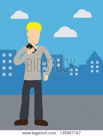 Man holding telephone on urban scene illustration