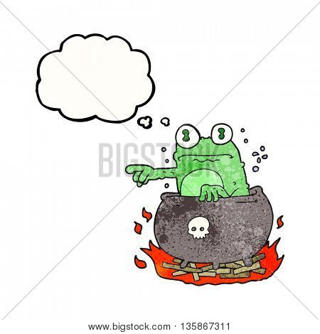 freehand drawn thought bubble textured cartoon halloween toad in cauldron