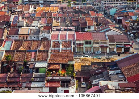 GEORGETOWN, MALAYSIA - MARCH 27: Panoramic view over historical part of the Georgetown on March 27 2016 in Penang, Malaysia.