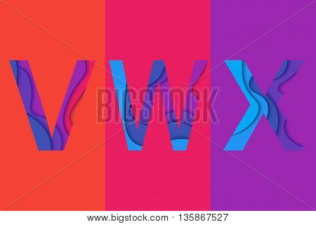 Letters V W X design template element. Material design Characters VWX vector icons and signs.