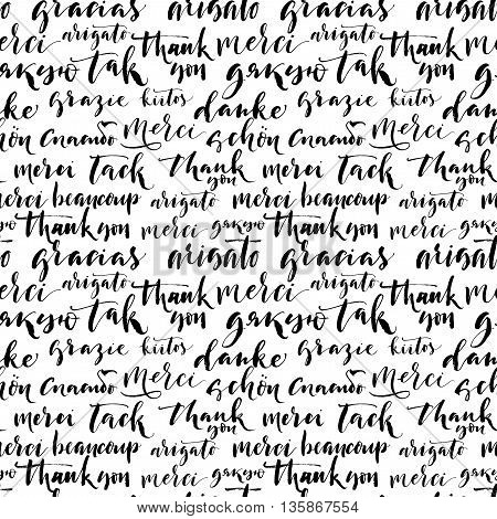 Seamless pattern with hand drawn thank you words on different language. Ink illustration. Modern brush calligraphy. Isolated on white background. Seamless ornament for wrapping paper.