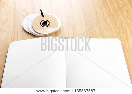 Open Notebook On Wooden Table With Notepad,template Mock Up For Adding Your Content