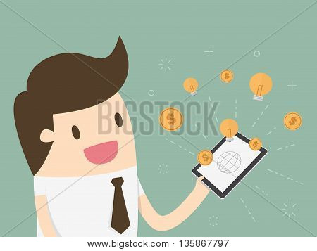 Businessman with tablet computer - money and idea appearing from the screen