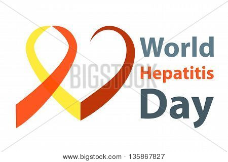 World hepatitis day vector illustration. Red and yellow hepatitis Ribbon heart concept.