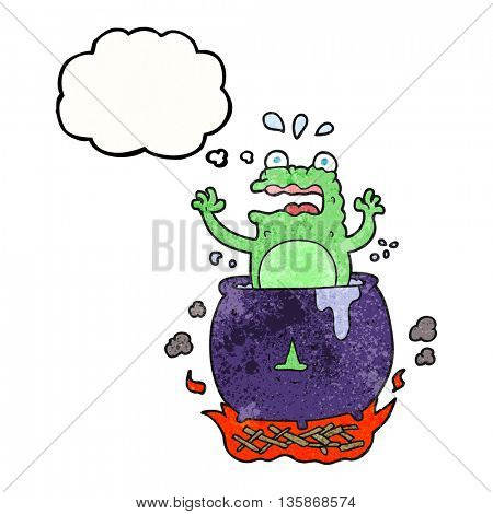 freehand drawn thought bubble textured cartoon funny halloween toad