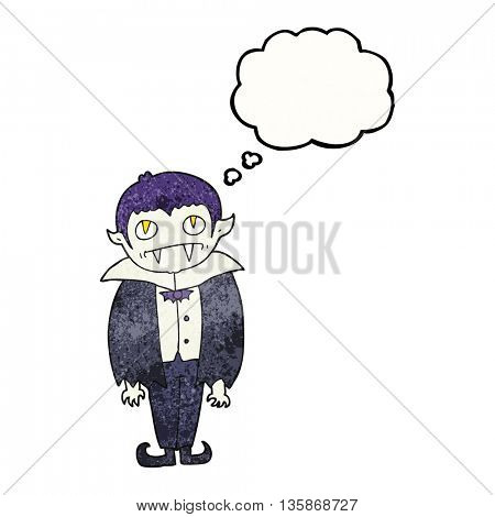 freehand drawn thought bubble textured cartoon vampire boy