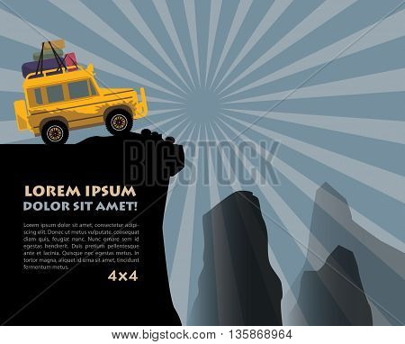 Abstract Off-road vehicle adventure background, vector illustration