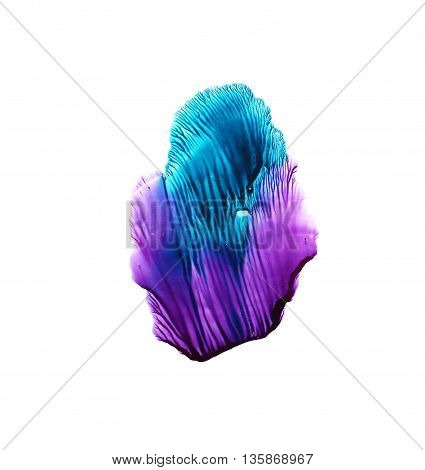 Colorful ink illustration. Isolated on white background. Blue and violet watercolor background. Artistic element for your design.