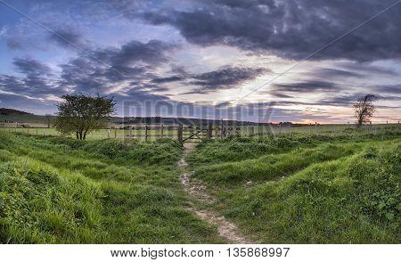 Beautiful English Countrysidepanorama  Landscape Over Fields At Sunset