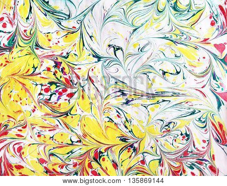 Ink illustration. Liquid paint. Hand drawn marble background. Yellow red green colors.