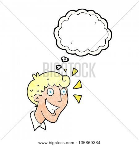 freehand drawn thought bubble textured cartoon excited man