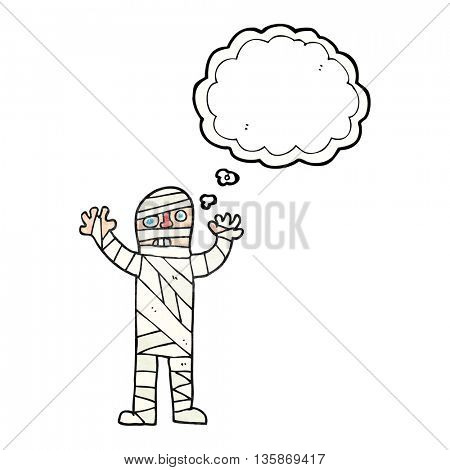freehand drawn thought bubble textured cartoon bandaged mummy