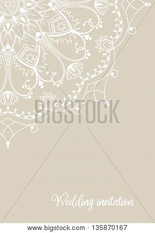 Romantic wedding invitation card with white mandala on beige background, ethnic or boho traditional motive, with copy space for your own text, vector illustration, eps 10