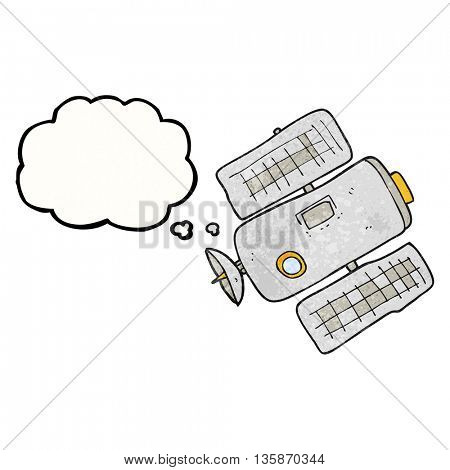 freehand drawn thought bubble textured cartoon space station
