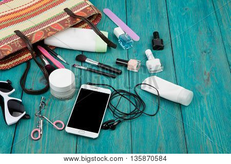 Summer Women Set With Straw Bag, Smartphone With Headphones, Sunglasses, Cosmetics Makeup And Essent