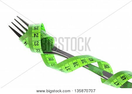 Close up Tape measure on a fork