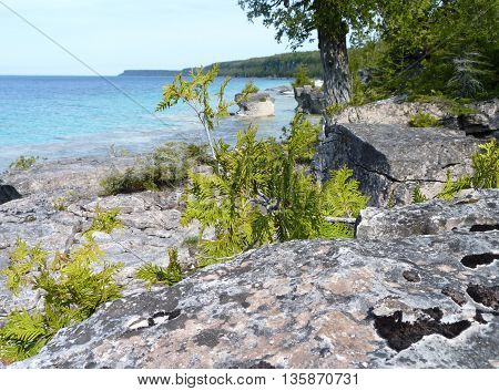 Lake Huron coastline on Bruce Peninsula, Ontario, Canada