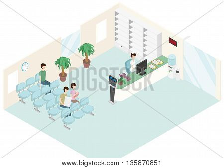 Patients are waiting in a clinic. A nurse is in a reception