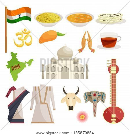 India icons set in catoon style isolated on white background