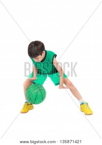 Little Boy Playing Greea Basketball In Green Pe Uniform Sport  With Clipping Path Isolate On White B