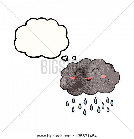freehand drawn thought bubble textured cartoon rain cloud