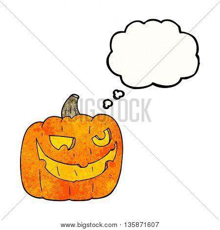freehand drawn thought bubble textured cartoon halloween pumpkin